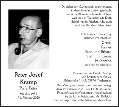 Peter Josef Kramp, 2020-02-06